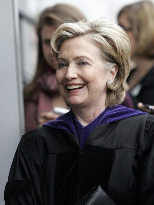 U.S. Secretary of State Hillary Clinton arrives at the commencement for Barnard College, in New York
