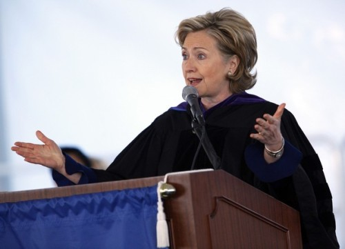 U.S. Secretary of State Hillary Clinton speaks at the commencement for Barnard College, in New York