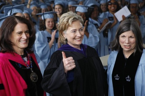 U.S. Secretary of State Hillary Clinton flanked by Debora Spar, President of Barnard College, and Anna Quindlen, Chair of the Board of Trustees, before delivering the commencement address, in New York