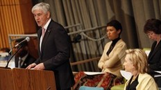 "Canadian Foreign Minister Lawrence Cannon (L) speaks as U.S. Secretary of State Hillary Clinton (R) listens at the International Donors' Conference meeting towards a ""New Future for Haiti"" at United Nations Headquarters, in New York, March 31, 2010. Some 120 countries, international organizations and aid groups are meeting at the United Nations in New York to pledge support for a Haitian government recovery plan that includes decentralizing the economy to create jobs and wealth outside Port-au-Prince, the capital of some 4 million people. REUTERS/Chip East (UNITED STATES - Tags: POLITICS)"