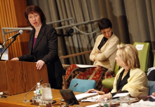 "Catherine Ashton, European Union High Representative for Foreign Affairs, speaks as U.S. Secretary of State Hillary Clinton (R) listens at the International Donors' Conference meeting towards a ""New Future for Haiti"" at United Nations Headquarters, in New York, March 31, 2010. Some 120 countries, international organizations and aid groups are meeting at the United Nations in New York to pledge support for a Haitian government recovery plan that includes decentralizing the economy to create jobs and wealth outside Port-au-Prince, the capital of some 4 million people. REUTERS/Chip East (UNITED STATES - Tags: POLITICS)"