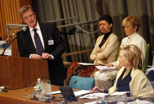 "French Minister of Foreign Affairs Bernard Kouchner speaks as U.S. Secretary of State Hillary Clinton (R) listens at the International Donors' Conference meeting towards a ""New Future for Haiti"" at United Nations Headquarters, in New York, March 31, 2010. Some 120 countries, international organizations and aid groups are meeting at the United Nations in New York to pledge support for a Haitian government recovery plan that includes decentralizing the economy to create jobs and wealth outside Port-au-Prince, the capital of some 4 million people. REUTERS/Chip East (UNITED STATES - Tags: POLITICS)"