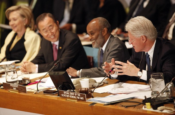 "Former U.S. President Bill Clinton (R), a U.N. special representative for Haiti, speaks as Haitian President Rene Preval (2nd R), U.N. Secretary-General Ban Ki-moon (2nd L) and U.S. Secretary of State Hillary Clinton listen during the International Donors' Conference meeting towards a ""New Future for Haiti"" at United Nations Headquarters, in New York, March 31, 2010. Some 120 countries, international organizations and aid groups are meeting at the United Nations in New York to pledge support for a Haitian government recovery plan that includes decentralizing the economy to create jobs and wealth outside Port-au-Prince, the capital of some 4 million people. REUTERS/Chip East (UNITED STATES - Tags: POLITICS)"