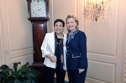 Dr. Hanan Ashwari and Secretary of State Hillary Clinton