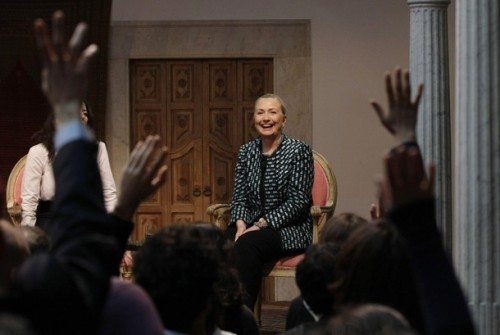 U.S. Secretary of State Hillary Clinton participates in a Town Hall meeting at the Baron d' Erlanger Palace in Carthage, Tunisia, February 25, 2012. REUTERS/Jason Reed (TUNISIA - Tags: POLITICS)
