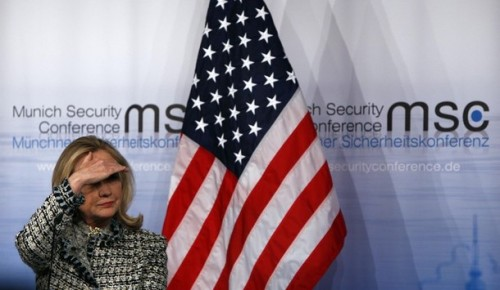 US Secretary of State Clinton gestures during statement at 48th Conference on Security Policy in Munich