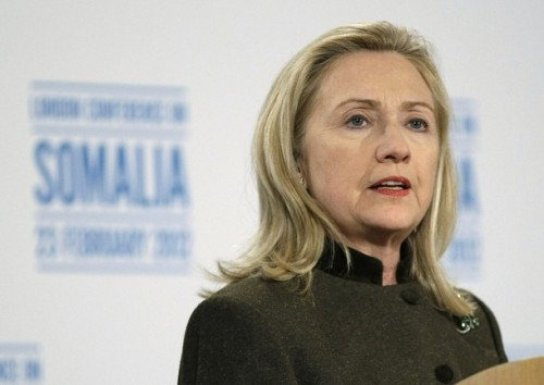 U.S. Secretary of State Clinton speaks at a news conference after the London Conference on Somalia in London