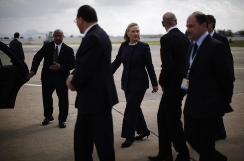 U.S. Secretary of State Hillary Clinton arrives in Tunis