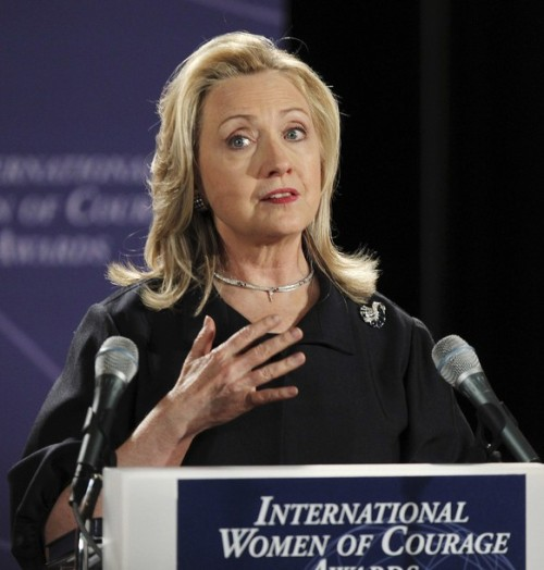 U.S. Secretary of State Hillary Clinton speaks during the State Department's 2012 International Women of Courage Award winners ceremony in Washington