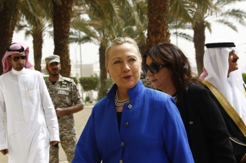 U.S. Secretary of State Clinton arrives for the Gulf Cooperation Council forum at the Gulf Cooperation Council Secretariat in Riyadh