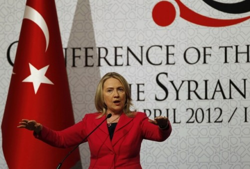 """U.S. Secretary of State Clinton speaks during a news conference at the """"Friends of Syria"""" conference in Istanbul"""
