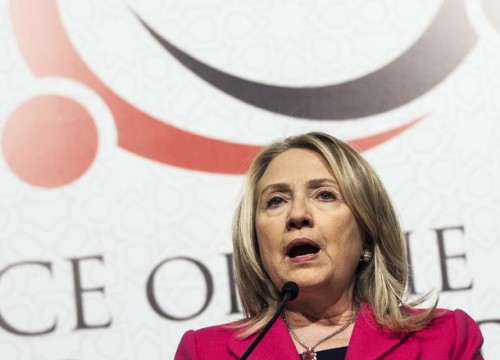 """U.S. Secretary of State Clinton speaks during a news conference after the opening session of the second """"Friends of Syria"""" conference in Istanbul"""