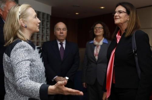 U.S. Secretary of State Clinton meets with CEO of Petroleo Brasileiro Gracas Foster in Brasilia