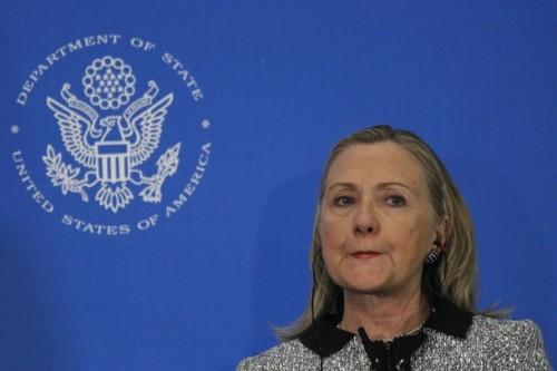 U.S. Secretary of State Hillary Clinton pauses as she speaks at Brazil's CNI in Brasilia