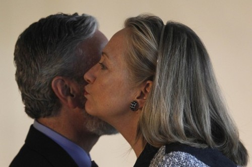 U.S. Secretary of State Clinton greets Brazil's Foreign Minister Patriota during their meeting at Itamaraty Palace in Brasilia
