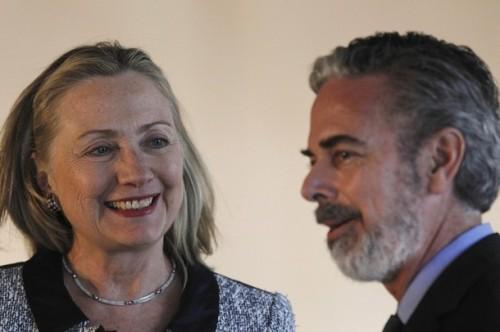 U.S. Secretary of State Clinton and Brazil's Foreign Minister Antonio Patriota meet at Itamaraty Palace in Brasilia