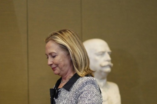 U.S. Secretary of State Hillary Clinton attends a news conference after a meeting with Brazil's Foreign Antonio Patriota at the Itamaraty Palace in Brasilia