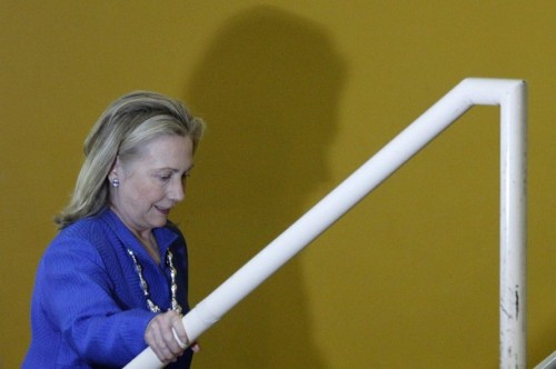 """U.S. Secretary of State Hillary Clinton arrives at the annual conference """"Open Government Partnership"""" in Brasilia"""