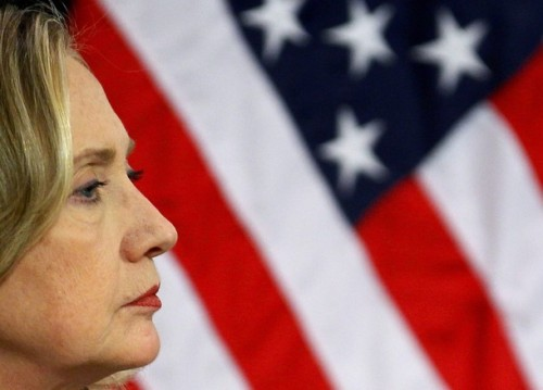 U.S. Secretary of State Hillary Clinton attends a news conference at the Alliance headquarters in Brussels