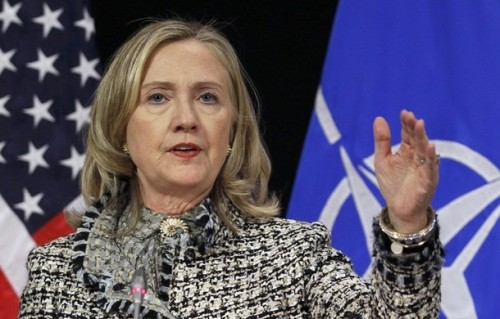 U.S. Secretary of State Clinton speaks at a news conference in Brussels