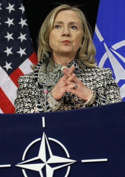 U.S. Secretary of State Hillary Clinton speaks at a news conference at the Alliance headquarters in Brussels