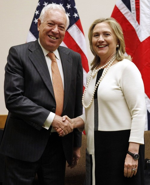U.S. Secretary of State Hillary Clinton meets with Spanish Foreign Minister Jose Manuel Garcia-Margallo at NATO headquarters in Brussels