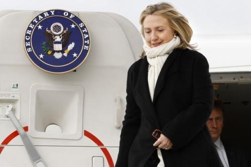 US Secretary of State Hillary Clinton ar