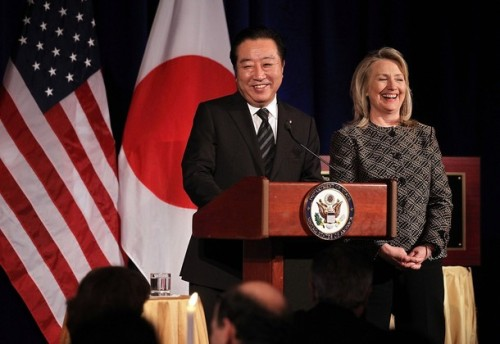 Clinton Hosts Dinner For Japanese P.M. Yoshihiko Noda In Washington