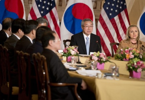 US Secretary of State Hillary  Clinton listens while South Korean Minister of Foreign Affairs and Trade Kim Sung-hwan speaks during a plenary session of a meeting at the US State Department June 14, 2012 in Washington, DC. Clinton, Panetta, and Kim met during the ministerial dialogues between the United States and the Republic of South Korea to discuss regional and international issues.  AFP PHOTO/Brendan SMIALOWSKI        (Photo credit should read BRENDAN SMIALOWSKI/AFP/GettyImages)