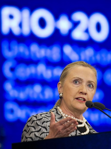 U.S. Secretary of State Hillary Rodham Clinton delivers a speech at the United Nations Conference on Sustainable Development, or Rio+20, in Rio de Janeiro, Brazil, , Friday, June 22, 2012. (AP Photo/Victor R. Caivano)