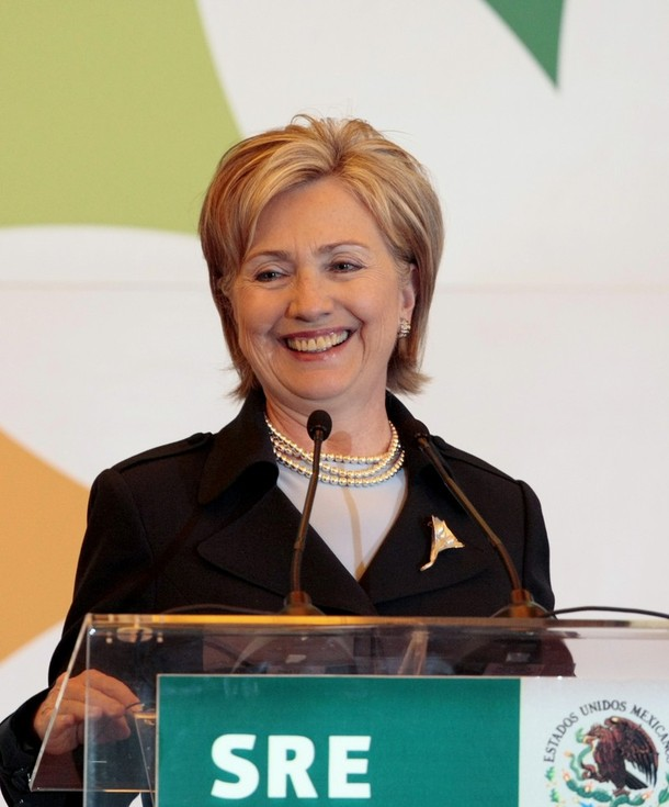 US Secretary of State Clinton smiles during a news conference at the foreign ministry in Mexico City