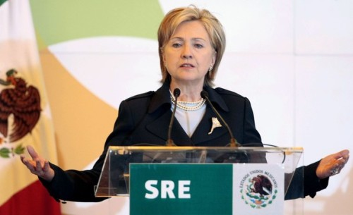 US Secretary of State Hillary Clinton speaks during a news conference at the foreign ministry in Mexico City