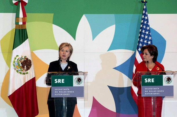 US Secretary of State Clinton speaks during a news conference at the foreign ministry in Mexico City