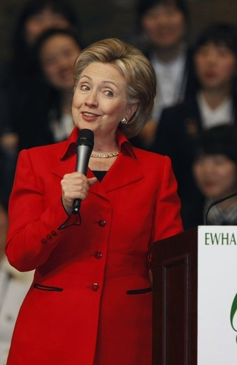 U.S. Secretary of State Hillary Clinton speaks at the Ewha Womans University in Seoul