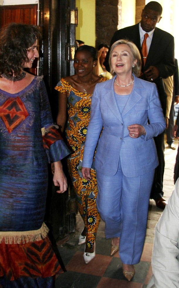 U.S. Secretary of State Clinton arrives at a town hall meeting with Congolese university students in the Democratic Republic of Congo's capital Kinshasa