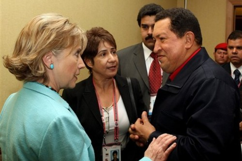 venezuela-hugo-chavez-hillary-clinton-barack-obama-summit