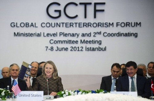 U.S. Secretary of State Clinton and Turkish Foreign Minister Davutoglu attend the Global Counterterrorism Forum in Istanbul