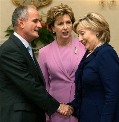 US Secretary of State Hillary Rodham Clinton, right, is greeted by Ireland's President Mary McAleese and her husband Martin at Aras an Uachtarain in Dublin, Ireland as part of her five day tour of Europe Sunday Oct. 11, 2009. (AP Photo/Niall Carson/PA Wire)
