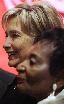 "Sen. Hillary Clinton, D-NY, left, poses for pictures with the late Dr. Martin Luther King Jr.'s sister Dr. Christine King Farris during a fund-raising dinner honoring Clinton with a ""Salute to Greatness"" award by the King Center Saturday Jan. 17, 2009, in Atlanta. (AP Photo/John Amis)"