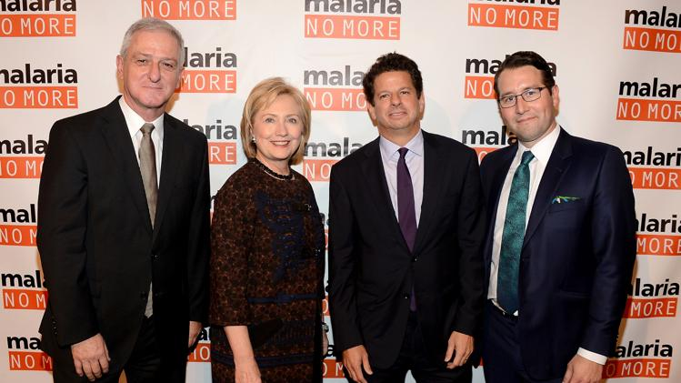 NEW YORK, NY - NOVEMBER 11: (L-R) Joerg Reinhardt, Hillary Clinton, Gary Ginsberg and Martin Edlund attend Malaria No More's International Honors Gala honoring Hilary Clinton on November 11, 2013 in New York City. (Photo by Theo Wargo/Getty Images for Malaria No More 2013)