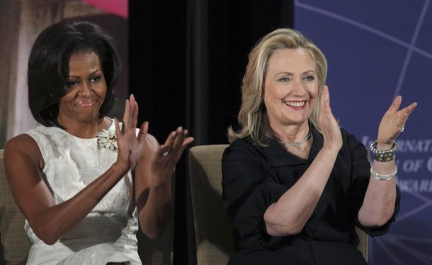 US First Lady Obama and Secretary of State Clinton applauds the 2012 International Women of Courage Award winners in Washington