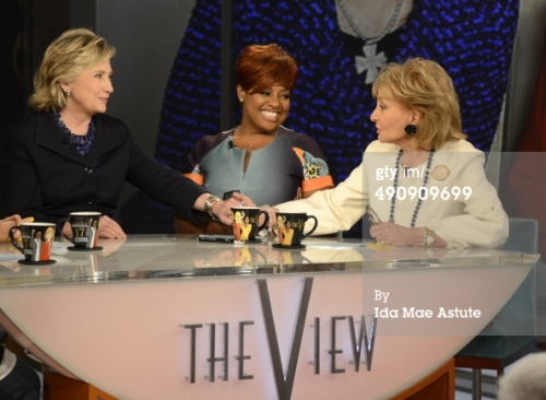 ABC's 'The View' - Season 17 Caption:THE VIEW - Broadcasting legend Barbara Walters says goodbye to daily television with her final co-host appearance on THE VIEW, airing FRIDAY, MAY 16 (11am-12noon, ET) on the ABC Television Network. Hillary Clinton was a surprise guest. (Photo by Ida Mae Astute/ABC via Getty Images)