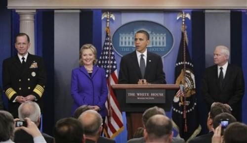 Hillary Rodham Clinton, Robert Gates, Michael Mullen, Barack Obama
