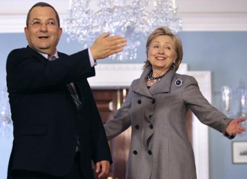 Secretary of State Clinton and Israeli Defense Minister Ehud Barak speak to reporters