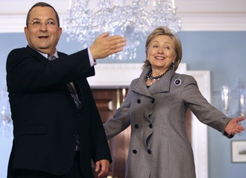 Secretary of State Clinton and Israeli Defense Minister Ehud Barak speak to reporters