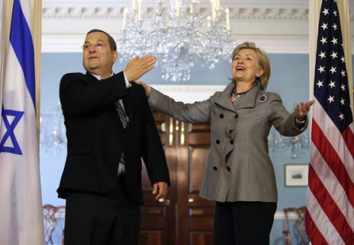 Secretary of State Clinton and Israeli Defense Minister Ehud Barak speak to reporters in Washington