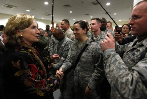 U.S. State Secretary Hillary Clinton meets with International troops at Kabul airport
