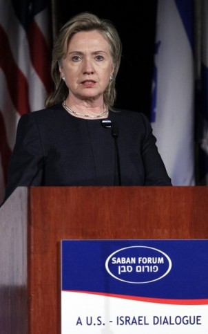 U.S. Secretary of State Clinton speaks at the Brookings Institution's Saban Center for Middle East Policy in Washington