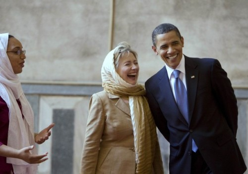 U.S. President Obama and U.S. Secretary of State Clinton tour Sultan Hassan Mosque in Cairo