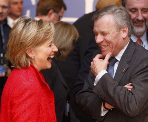 NATO Secretary-General Jaap de Hoop Scheffer speaks with U.S. Secretary of State Hillary Clinton during the North Atlantic Council Summit meeting in  Strasbourg